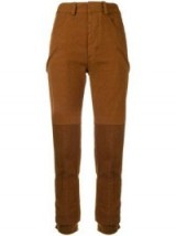 HAIDER ACKERMANN Brown two-tone skinny trousers