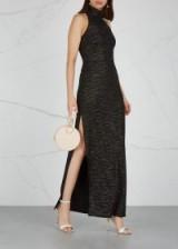 HALSTON HERITAGE Black metallic textured-knit gown – glamorous side slit maxi