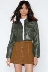 NASTY GAL Having a Stitch Fest Faux Leather Jacket in Green