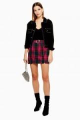 Topshop Heart Buckle Check Mini Skirt in Pink | tartan print fashion