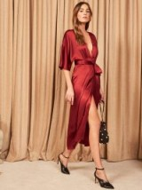 Reformation Hedi Dress in Crimson | red silky plunge front frock
