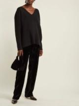 CHRISTOPHER KANE High-rise black crushed-velvet trousers