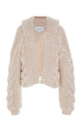 I Love Mr. Mittens Hooded Cable-Knit Wool Bomber ~ soft chunky knits