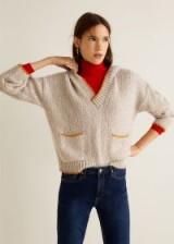 MANGO Hooded knit sweater in ecru – WEEKEND | retro knitwear
