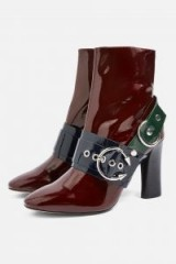 TOPSHOP HOT Hardware Boots in Burgundy / high shine buckle boots
