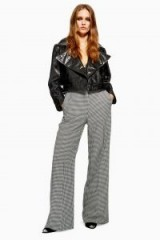 Topshop Houndstooth Trousers in Monochrome | mono dogtooth wide leg pants