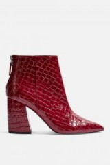 Topshop HOUSTON Ankle Pointed Boots in Red   chunky angled heel   shiny retro boot