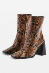 Topshop HURRICANE High Ankle Boots in Natural | reptile print autumn boots