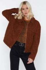 NASTY GAL I Feel Love Faux Shearling Jacket in Brown – fur trucker