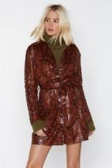 NASTY GAL I'm Gonna Snake You Love Me Mini Dress in Tan – brown reptile prints