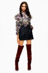 Topshop Indigo Contrast Denim Skirt   dark blue mini