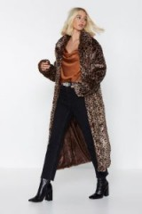 NASTY GAL It's Your Meow-ment Leopard Coat in Brown – long faux fur animal print coat