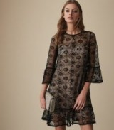 REISS JADE LACE SHIFT DRESS BLACK/NUDE ~ feminine event wear