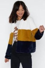 NASTY GAL Just Color Decide Faux Fur Jacket – colour block jackets