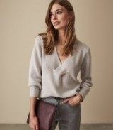 REISS KAT TWIST FRONT V-NECK JUMPER SOFT GREY ~ casual luxe knitwear