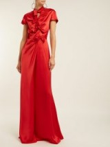 SALONI Kelly bow-detail red silk-satin dress ~ chic event gown