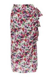 Saloni Kelly Side Ruffle Silk Skirt