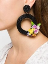 KEN SAMUDIO oversized floral black bead earrings / large flower embellished hoops