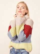 Reformation – La Ligne X Reformation Color-Me-Happy Sweater in Bright Stripe | chunky turtle neck jumpers