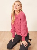 Reformation – La Ligne X Reformation Sail-Away-With-Me Sweater in Hot Pink | pretty cable knit jumper