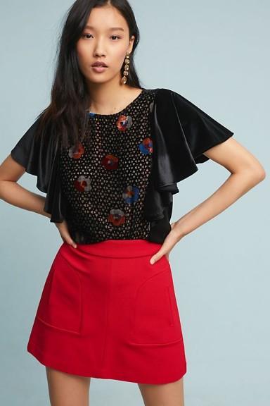 Eva Franco Langley Velvet Top in Black / flutter sleeves
