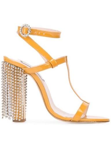 LEANDRA MEDINE embellished heel sandals / glamorous jewel fringed heels