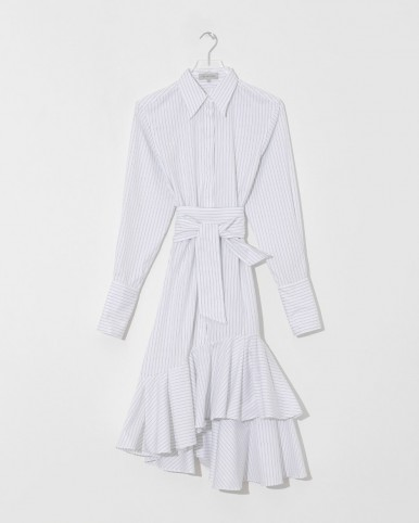 LEE MATHEWS penny pinstripe flounce shirt dress
