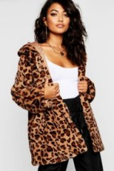 boohoo Leopard Faux Fur Coat in Taupe