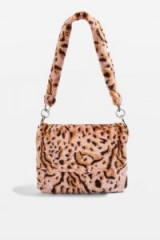 Topshop Leopard Print Teddy Faux Fur Shoulder Bag in Pink | animal print bags