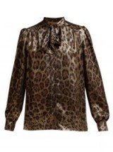 DOLCE & GABBANA Leopard-print metallic-bronze silk-blend pussy-bow blouse ~ shimmering animal prints