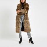 River Island Light brown fur tipped longline coat – vintage style winter coats