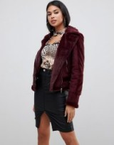 Lipsy aviator jacket with faux fur lining in burgundy | dark red winter jackets