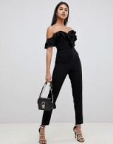 Lipsy frill front bardot jumpsuit in black – off the shoulder glamour