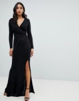 Lipsy glitter wrap maxi dress in black – glamorous evening gowns