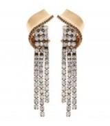 REISS EARRINGS DIAMANTE DROP EARRINGS ~ gold-tone tasseled jewellery