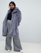 Lost Ink Plus longline faux fur coat in grey ~ luxe style plus size winter coats