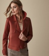 Reiss LUCIE SHORT LEATHER JACKET RED | autumn luxe