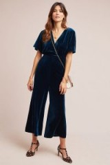 Greylin Luna Velvet Jumpsuit Sapphire ~ cropped leg jumpsuits