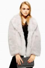 TOPSHOP Luxe Pale Grey Faux Fur Coat – luxury style fluffy winter jacket