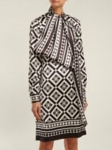 MARY KATRANTZOU Lyonel geometric-print satin dress ~ chic retro look