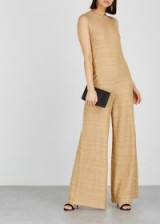 M MISSONI Gold wide-leg cotton-blend jumpsuit ~ luxe metallic knitwear