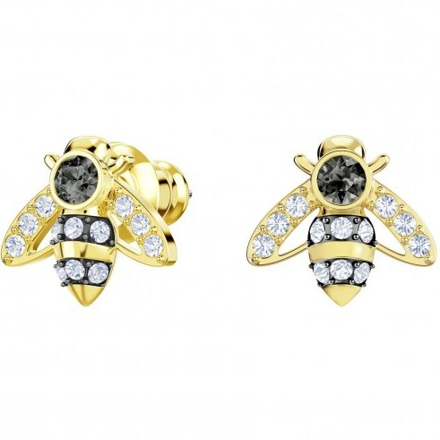 SWAROVSKI MAGNETIC BEE STUD PIERCED EARRINGS, GREY, GOLD PLATING | small crystal insect studs - flipped