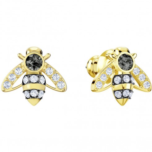 SWAROVSKI MAGNETIC BEE STUD PIERCED EARRINGS, GREY, GOLD PLATING | small crystal insect studs