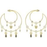 SWAROVSKI MAGNETIC HOOP PIERCED EARRINGS, MULTI-COLOURED, GOLD PLATING | large crystal charm hoops | statement boho jewellery