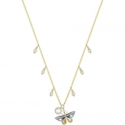 SWAROVSKI MAGNETIC BUTTERFLY NECKLACE, MULTI-COLOURED, MIXED PLATING | nature inspired crystal pendants - flipped