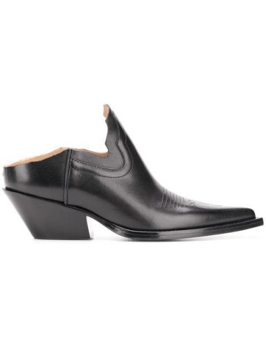 MAISON MARGIELA black leather slip-on cowgirl mules / western style shoes