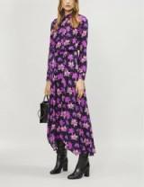 MAJE Ritunia crossover-front floral-print dress / boho maxi