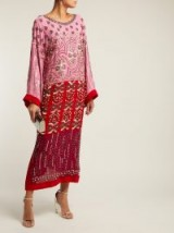 SALONI Maki embroidered pink and red silk kaftan