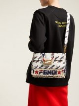 FENDI Mania baguette logo-tassel white leather shoulder bag ~ fringed handbag