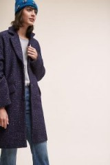 Suncoo Manteau Tailored Coat in Navy – blue speckled wool blend winter coats